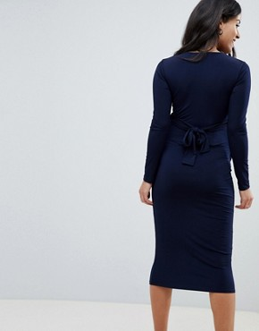 photo Wrap Front Midi Dress by Bluebelle Maternity, color Navy - Image 2