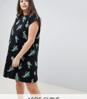 photo Cactus Print Mini Swing Dress by ASOS DESIGN Curve, color Multi - Image 1