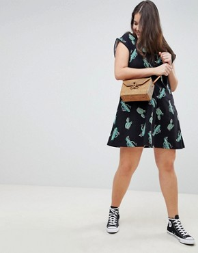 photo Cactus Print Mini Swing Dress by ASOS DESIGN Curve, color Multi - Image 4