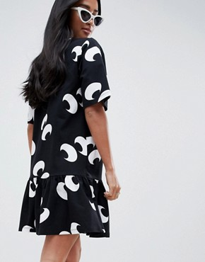 photo Eye Print Smock Dress by ASOS DESIGN Petite, color Multi - Image 2