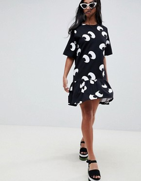 photo Eye Print Smock Dress by ASOS DESIGN Petite, color Multi - Image 4