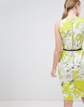 photo Belted Pencil Dress by Closet London, color Lime - Image 2