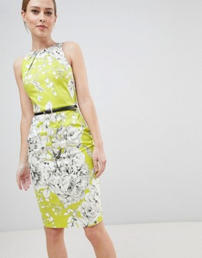 photo Belted Pencil Dress by Closet London, color Lime - Image 1