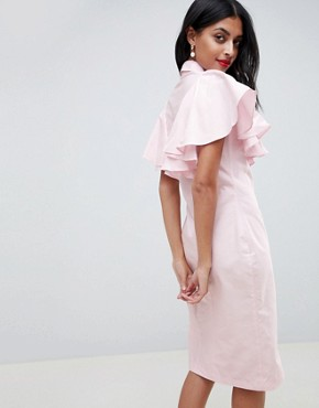 photo Pencil Dress with Frilled Sleeves by Closet London, color Pale Pink - Image 2
