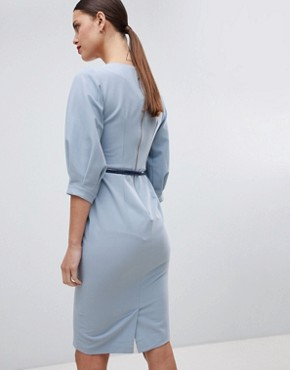 photo Belted Pencil Dress by Closet London, color Blue - Image 2