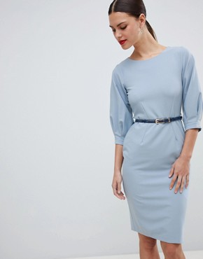 photo Belted Pencil Dress by Closet London, color Blue - Image 1