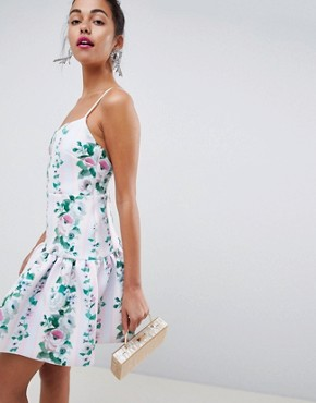 photo Stripe Floral Drop Waist Mini Skater Dress by ASOS DESIGN, color Stripe Floral - Image 1
