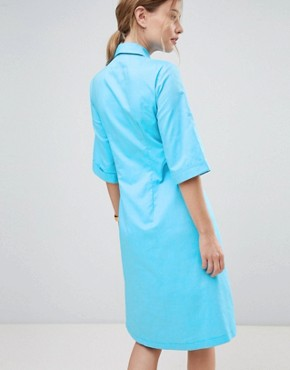 photo Shirt Dress with Waist Tie by Closet London, color Blue - Image 2