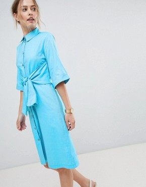 photo Shirt Dress with Waist Tie by Closet London, color Blue - Image 1