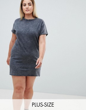 photo T-Shirt Dress by Missguided Plus, color Washed Grey - Image 1