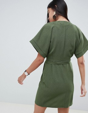 photo Wrap Mini Dress by ASOS DESIGN, color Khaki - Image 2