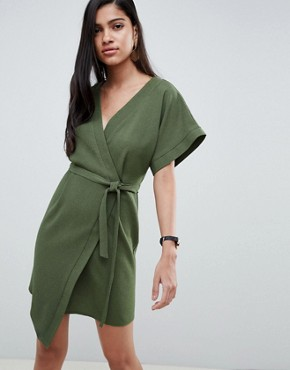photo Wrap Mini Dress by ASOS DESIGN, color Khaki - Image 1