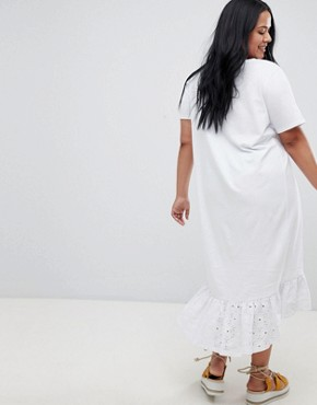 photo Midi t-shirt Dress with Broderie Drop Hem by ASOS DESIGN Curve, color White - Image 2