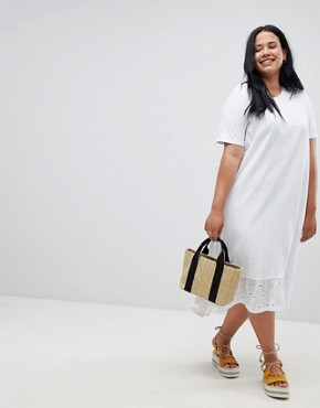 photo Midi t-shirt Dress with Broderie Drop Hem by ASOS DESIGN Curve, color White - Image 1