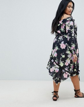 photo Off Shoulder Tea Dress with Shirred Cuffs in Floral Print by ASOS DESIGN Curve, color Multi - Image 2