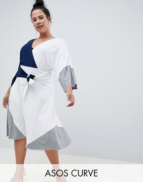 photo Colour Block Knot Front Midi Dress by ASOS DESIGN Curve, color Multi - Image 1