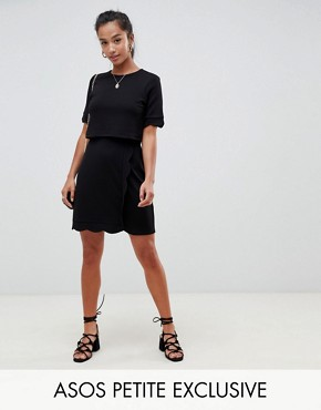 photo Scalloped Hem Mini Dress with Crop Top and Wrap Skirt by ASOS DESIGN Petite, color Black - Image 1