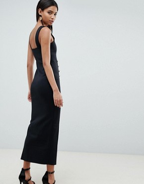 photo Square Neck Scuba Maxi Dress with Buttons by ASOS DESIGN, color Black - Image 2
