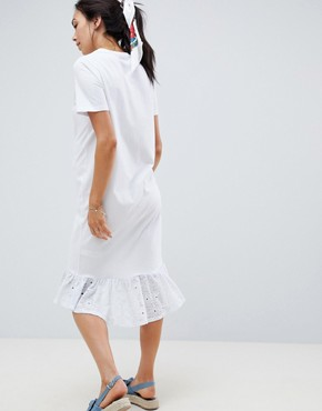 photo Maternity Midi t-shirt Dress with Broderie Drop Hem by ASOS DESIGN, color White - Image 2