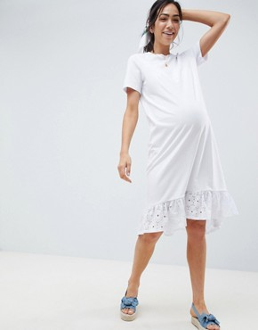 photo Maternity Midi t-shirt Dress with Broderie Drop Hem by ASOS DESIGN, color White - Image 1