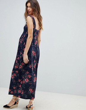 photo Maternity Ruffle Strap Shirred Maxi Sundress in Floral Print by ASOS DESIGN, color Multi - Image 2