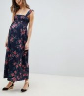 photo Maternity Ruffle Strap Shirred Maxi Sundress in Floral Print by ASOS DESIGN, color Multi - Image 4