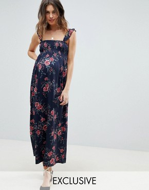 photo Maternity Ruffle Strap Shirred Maxi Sundress in Floral Print by ASOS DESIGN, color Multi - Image 1