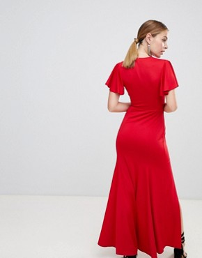 photo V-Neck Maxi Dress by Miss Selfridge Petite, color Red - Image 2