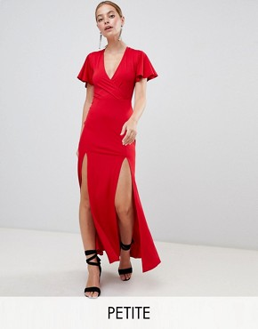 photo V-Neck Maxi Dress by Miss Selfridge Petite, color Red - Image 1