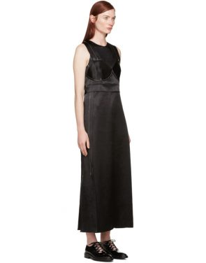 photo Black Satin Topstitched Gabiola Dress by Calvin Klein Collection - Image 2