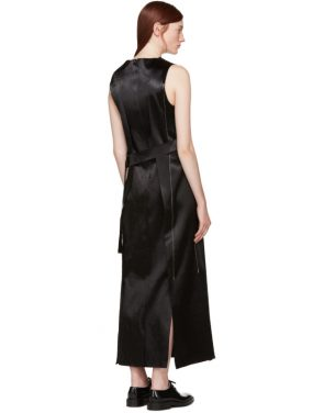 photo Black Satin Topstitched Gabiola Dress by Calvin Klein Collection - Image 3