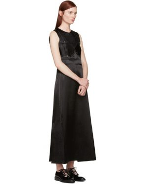 photo Black Satin Topstitched Gabiola Dress by Calvin Klein Collection - Image 4