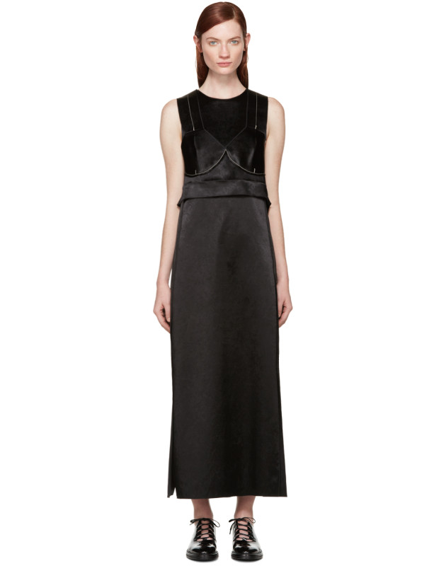 photo Black Satin Topstitched Gabiola Dress by Calvin Klein Collection - Image 1