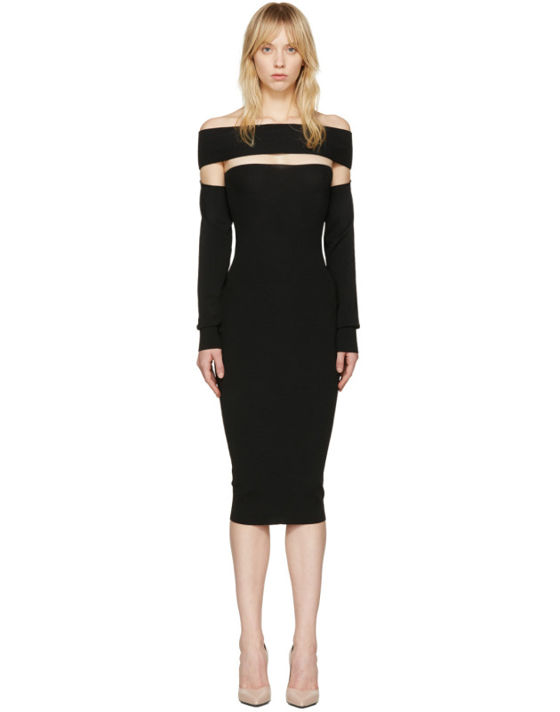photo Black Bandeau Off-the-Shoulder Dress by McQ Alexander McQueen - Image 1