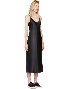 photo Black Silk Charmeuse Cami Dress by T by Alexander Wang - Image 2