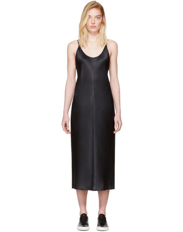 photo Black Silk Charmeuse Cami Dress by T by Alexander Wang - Image 1