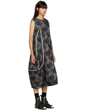 photo Black Padded Floral Lace Dress by Comme des Garcons - Image 2