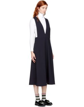 photo Navy Tardani Apron Dress by Studio Nicholson - Image 2