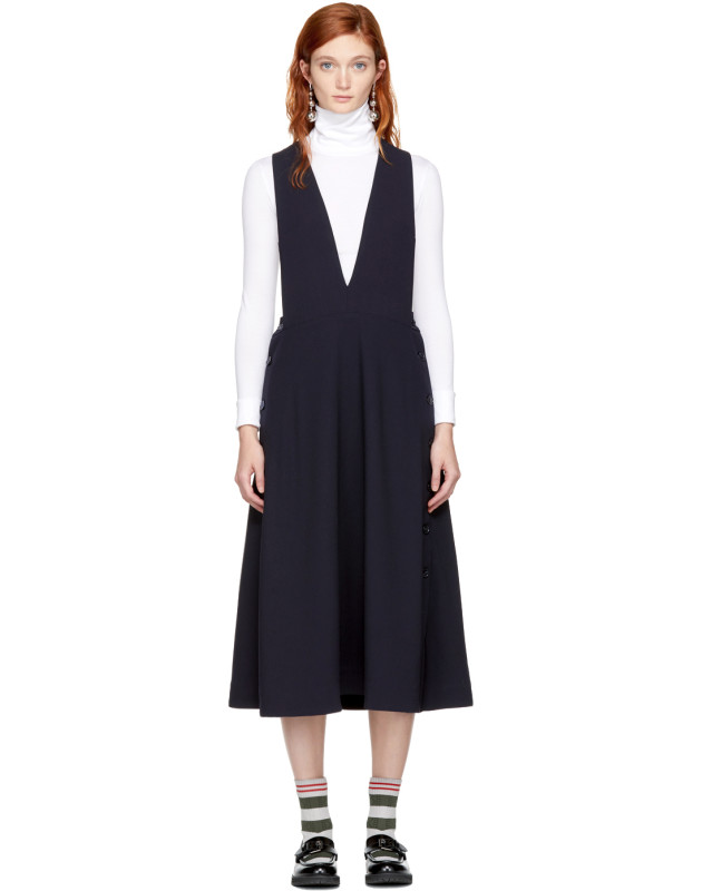 photo Navy Tardani Apron Dress by Studio Nicholson - Image 1