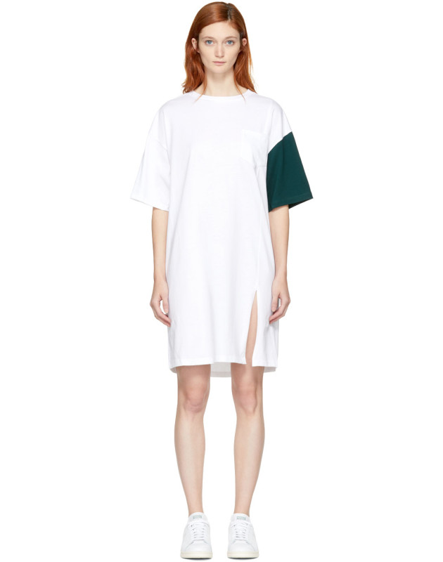 photo White and Green California Club Tee Dress by SJYP - Image 1