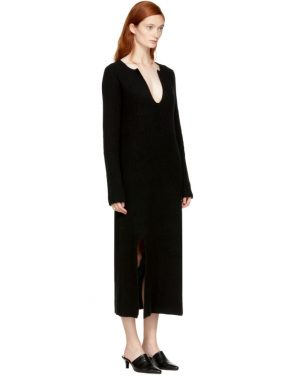 photo Black Cashmere Slit Front Sweater Dress by Rosetta Getty - Image 2
