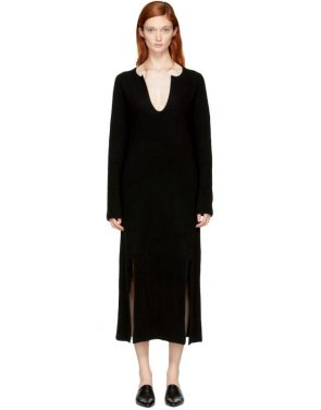 photo Black Cashmere Slit Front Sweater Dress by Rosetta Getty - Image 1