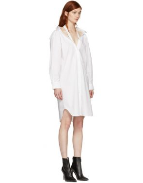 photo White Tape Shirt Dress by T by Alexander Wang - Image 2