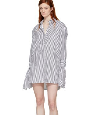 photo Black and White Striped Shirt Dress by Neil Barrett - Image 4