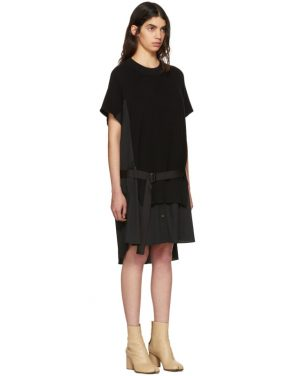 photo Black Classic Cotton Knit Dress by Sacai - Image 2