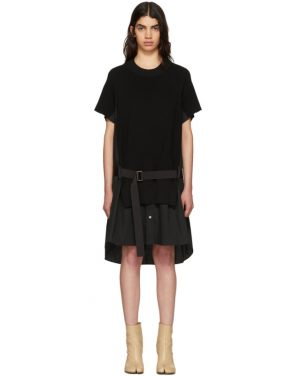 photo Black Classic Cotton Knit Dress by Sacai - Image 1