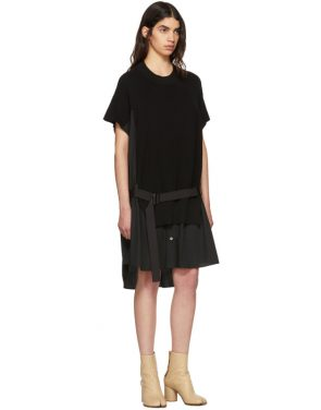 photo Black Classic Cotton Knit Dress by Sacai - Image 4