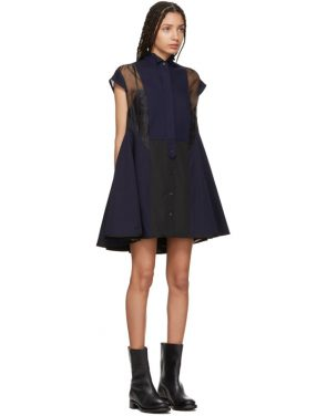 photo Black and Navy Panelled Short Dress by Sacai - Image 2