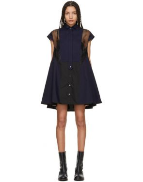 photo Black and Navy Panelled Short Dress by Sacai - Image 1