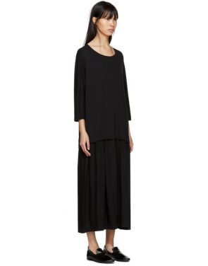 photo Black Three-Quarter Sleeve Dress by Ys - Image 2